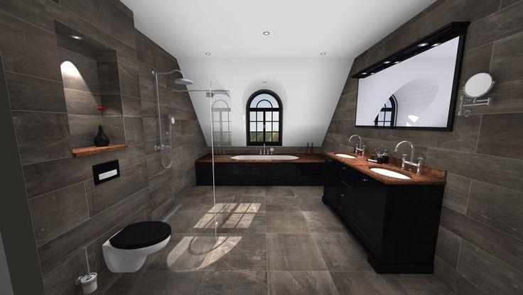 (@ Middelkoop Culemborg / badkamers) Een echte klassieke badkamer wat zich kenmerkt door Marmer en natuursteen. Het bad en de wastafels van Villeroy en Boch zijn volledig weggewerkt onder de natuursteenplaten. De kranen van Axor Montreux maken het helemaal af.   Deze badkamer is samen met onze keukenafdeling gerealiseerd voor het bad-ombouw en uiteraard het badkamer meubel.  Voor meer badkamer ideeën zie onze website.