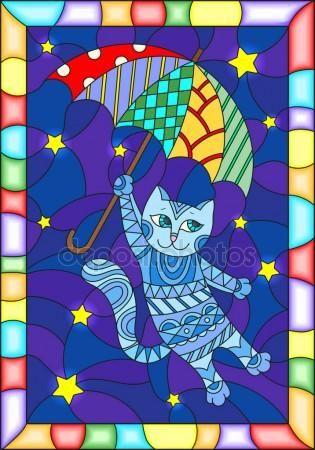 Скачать - Иллюстрация в стиле витражи с смешные Летающие кошки на зонтик против звездное ночное небо — стоковая иллюстрация #153906160