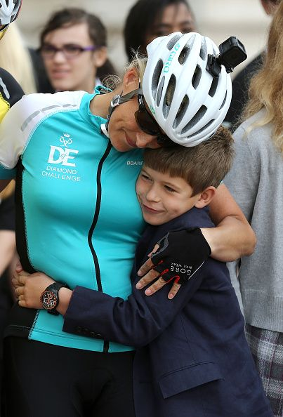 Sophie, Countess of Wessex hugs James Viscount Severn after riding into Buckingham Palace after completing the Diamond Challenge on September 25, 2016 in London, United Kingdom.