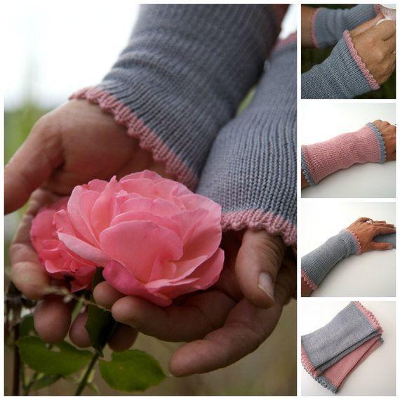 Pulswärmer, 100% Merinowolle, Stulpen, Armstulpen, grau mit rosa Rand, lang