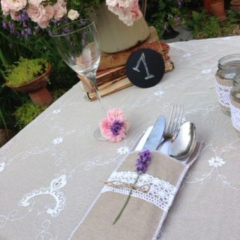 This is a beautiful burlap and lace silverware keeper by Made In Heaven. Order it now! :)