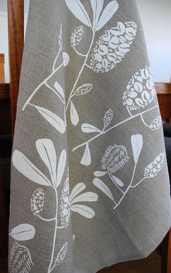 Linen Tea Towel Screen Printed Linen Tea Towel by PalumaPrint, $16.00