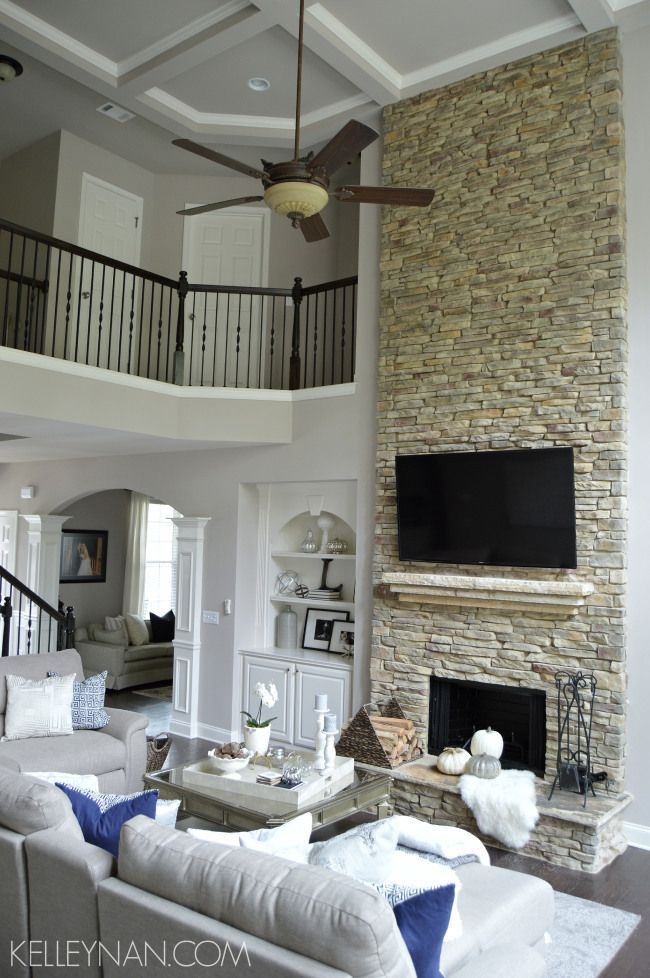 Two Story Great Room Stacked Stone Fireplace Rock Fireplace