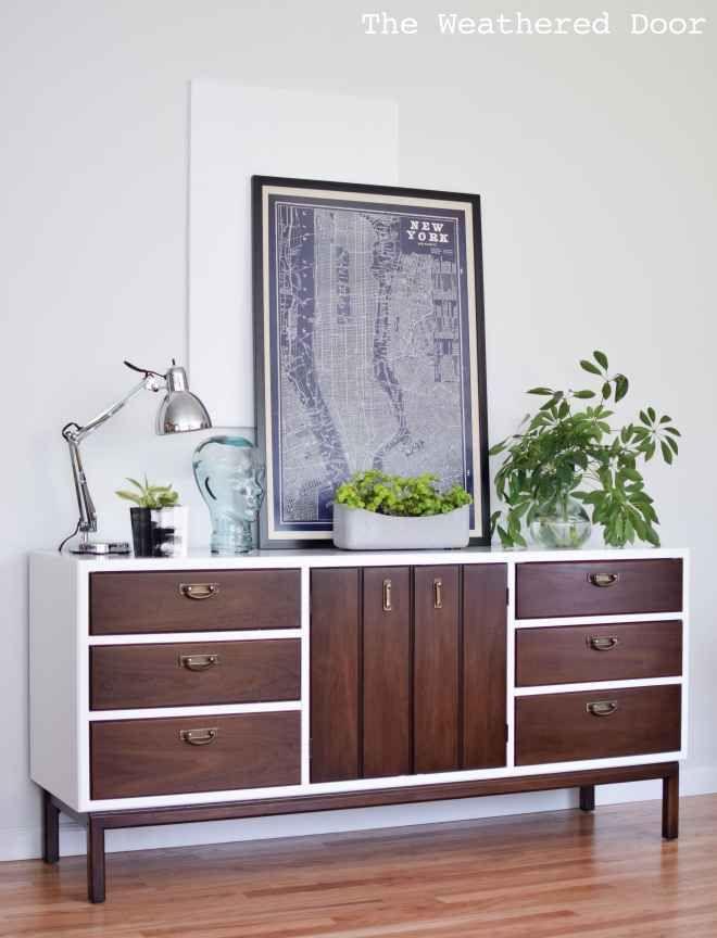 relooking d 39 un buffet ann es 50 juste en soulignant les bordures en blanc d co diy d co diy. Black Bedroom Furniture Sets. Home Design Ideas