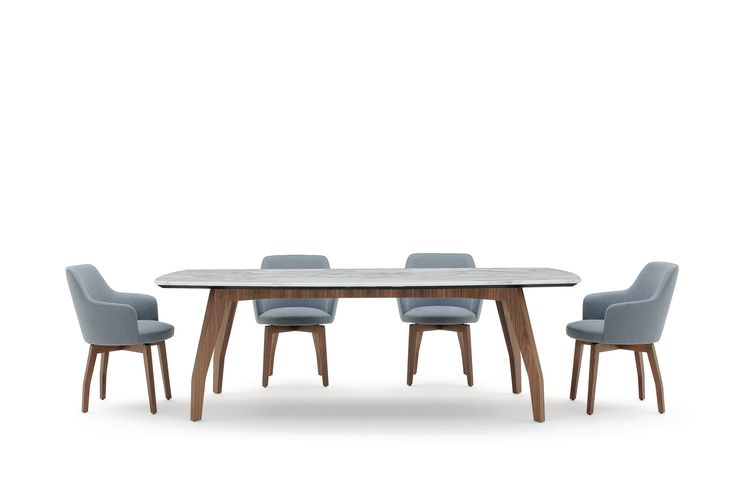 Allen1  Dining Table. An ideal table suited for any settings stands out thanks to the rounded shape of its #marble top, lending it a light yet sturdy appearance. Rounded solid #wood legs.  #diningtable #design #dining #interior #interiordesign