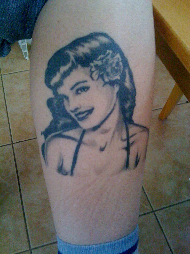 My Bettie Page tattoo. A Christmas gift from FIL. Dec 29,2008. Done by Chris Mack of East Side Tattoo