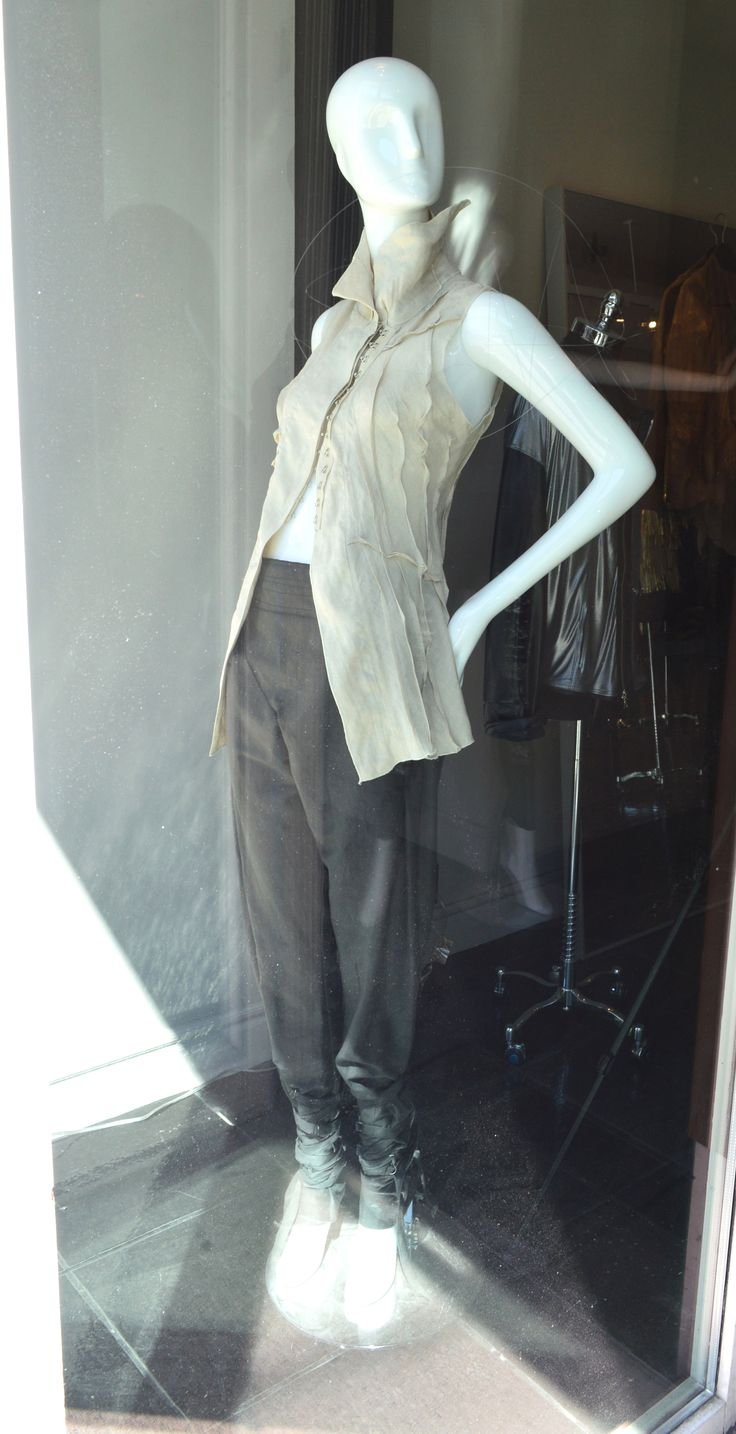 Natural linen sleeveless top, cotton pants with ankle ties