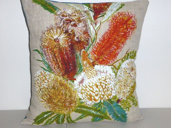 Banksias Cushion Cover Australian Wildflower Pillow by Lapideum