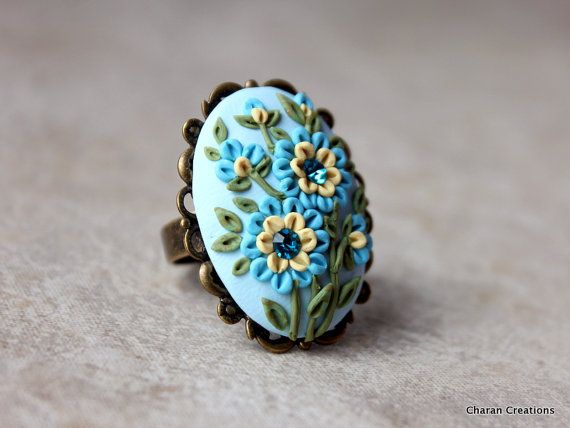 Polymer Clay Applique Ring in blue and Yellow door charancreations