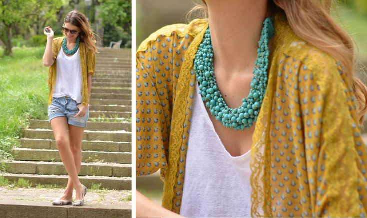 I have always loved this color combo. She has such great style.: Colors Combos, Kimonos Style, Denim Style, Casual Summer, Turquoi Necklaces Outfits, Statement Necklaces, Colors Palettes, Colors Combinations, Colors Schemes