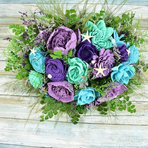 Under the Sea Sola Flower Corsage Lavender Turquoise Wood Flower Corsage Lime