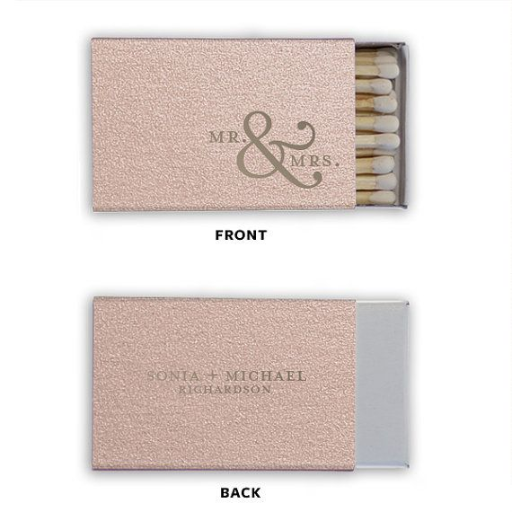 Mr. & Mrs. Personalized Classic Wedding Match Boxes, Set of 50 - Wedding Favors, Party Favors, Custom Wedding Matches, Foil Stamped Matches