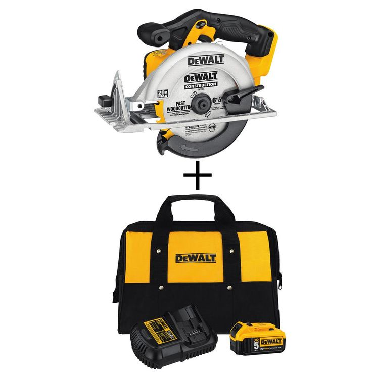 DEWALT 20-Volt Max Lithium-Ion 6-1/2 in. Cordless Circular Saw with Bonus 5.0 Ah XR Battery Starter Kit