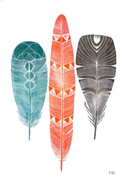Navajo Designed Feathers in Colored Pencil