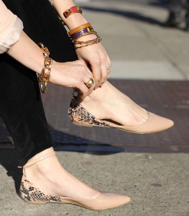 These I want!  nude snakeskin flats with ankle tie