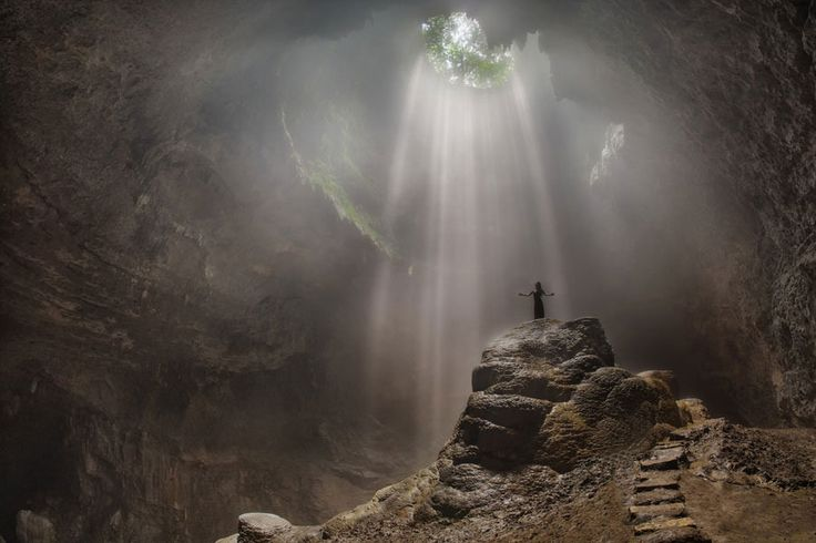 Light from heaven? Come on, it's only Jomblang cave in Yogyakarta