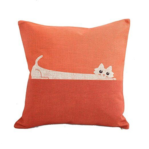 CoolDream Home Decor Sofa Orange Cat Cotton Throw Pillow Cover 18X18''
