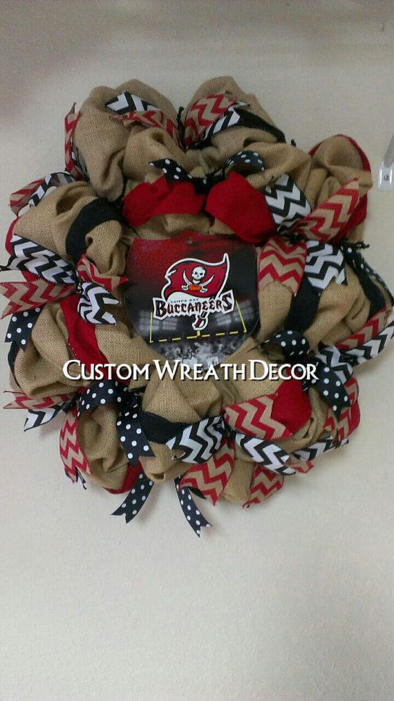 Tampa Bay Buccaneers Burlap Wreath by CustomWreathDecor on Etsy #NFLFanStyle #contest