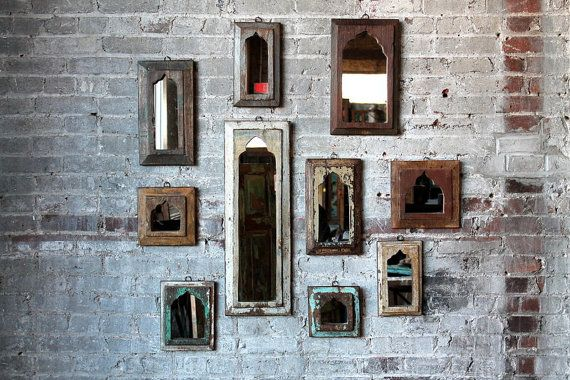 Mirror Reclaimed Vintage Indian Door Panel por hammerandhandimports
