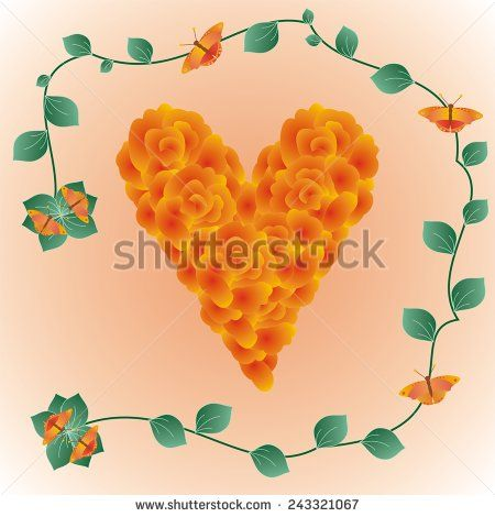 Decorative #heart made of #roses with #leaves and #butterflies