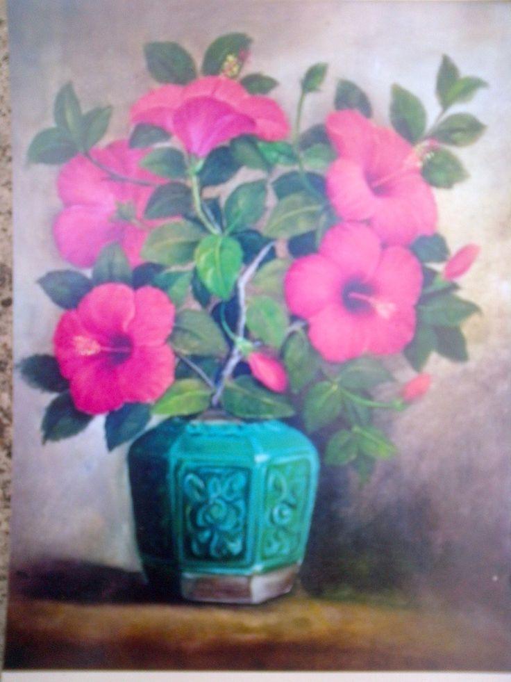 Jual Lukisan Bunga - oil on canvas - 30-70 cm - harga ; nego