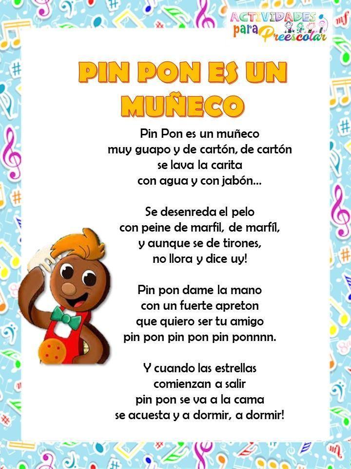 Canciones De Actividades Paa Preescolar 1 Letras De Canciones Infantiles Canciones Infantiles Poemas Infantiles