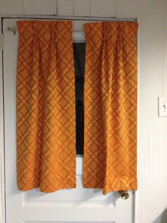 mid century  orange kitchen curtains excellent by modmamavintage, $20.00