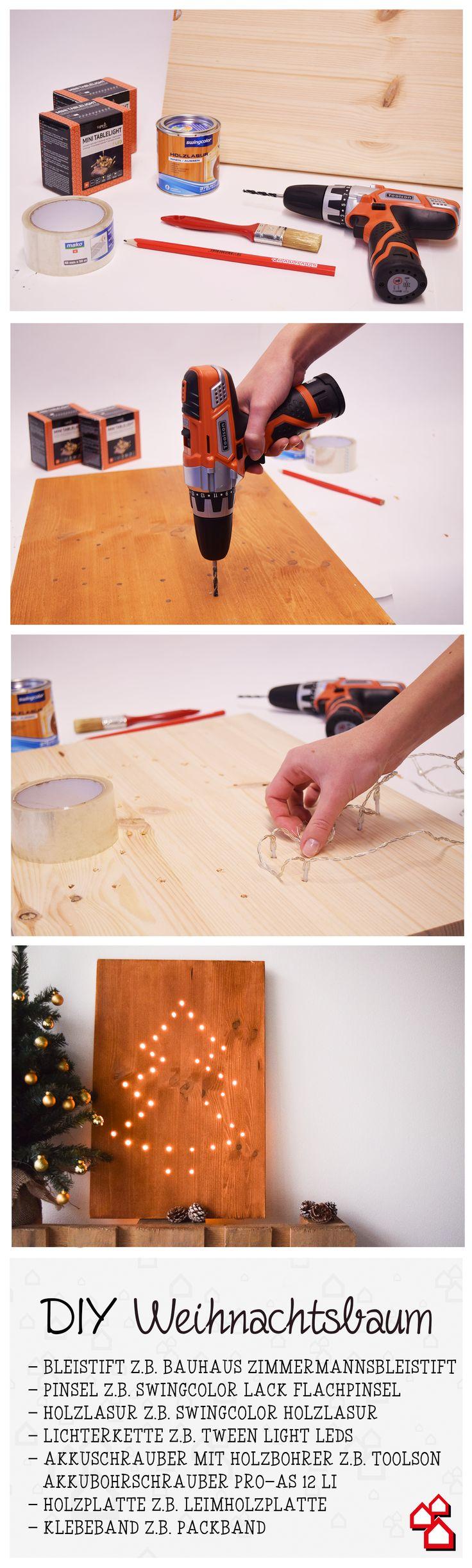 Weil ein Holzbrett nicht einfach nur ein Holzbrett ist, verwandeln wir es in einen leuchtenden Weihnachtsbaum. #DIY