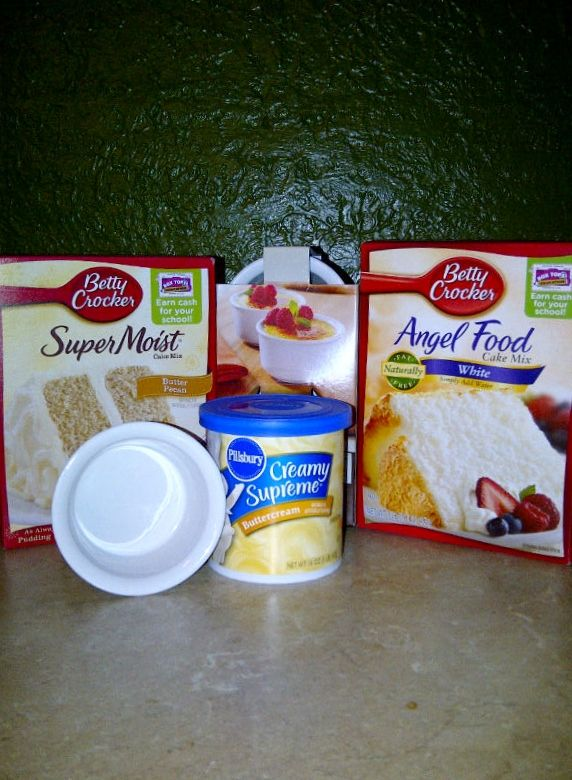 This is a fun recipe for a quick sweet. Mix cake mixes. Take 3 T of mix, add 2 T water and microwave for 1 minute. 321 cake.