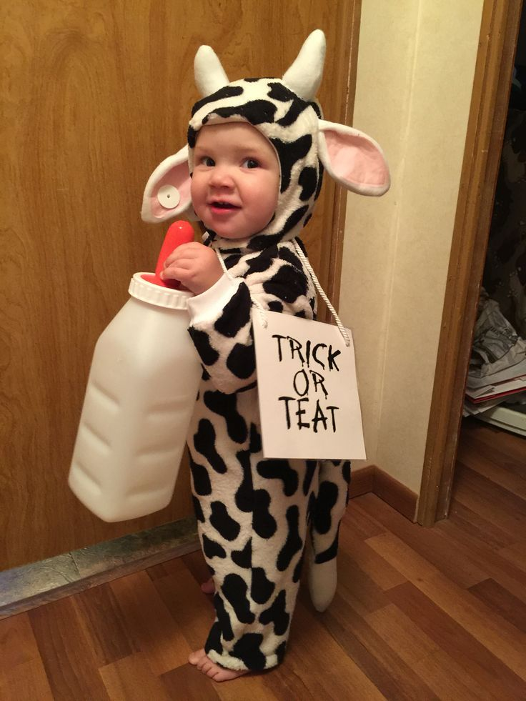 "Toddler cow Halloween costume. Eat mor chikin. Trick or ""teat""."