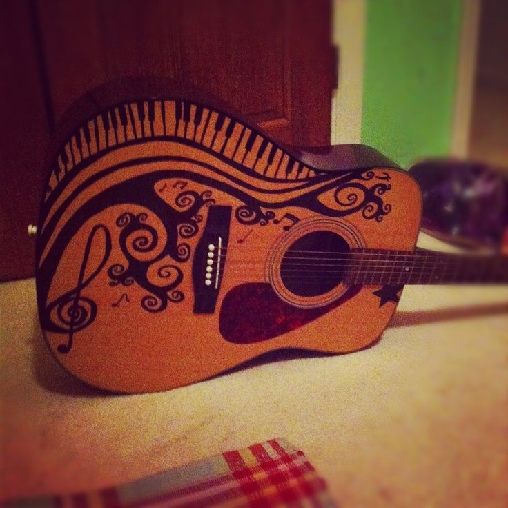 17 best images about sharpie my guitar on pinterest for Acoustic guitar decoration