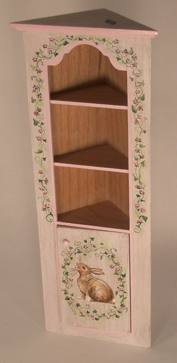 Corner Cabinet Rabbit & Ivey by Karen Markland - $298.50 : Swan House Miniatures, Artisan Miniatures for Dollhouses and Roomboxes