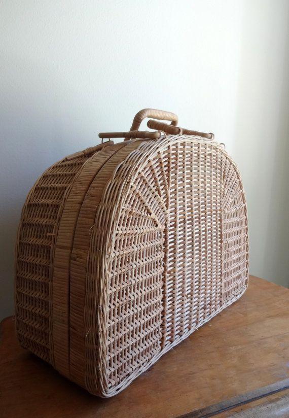 Beautiful tan antique wicker picnic basket by TheMagickAttic