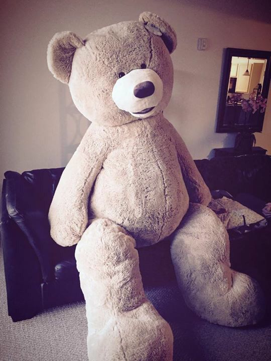 This is the 93 inch plush teddy bear my fiancé got me from Costco... Isn't it the cutest thing ever?! Just HAD to pin a photo of him onto my animals board seeing as he IS a bear ;) he takes up a lot of space on my sectional so he went to live in the guest room. LOVE!