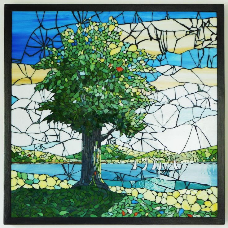 Stained Glass Mosaic Landscape With Tree From PebbleAndMosaic-Etsy by PebbleAndMosaic on Etsy