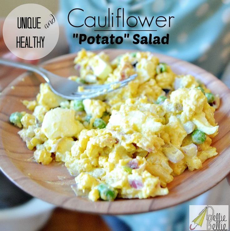 "homemade Cauliflower ""potato"" salad...yummy!  This uses cauliflower instead of potatoes as the main ingredient and is delicious! gluten-free, potato salad, cauliflower recipes"