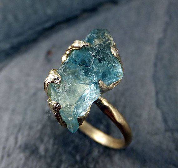 Raw Uncut Aquamarine Ring Solid 14K Gold Ring by byAngeline
