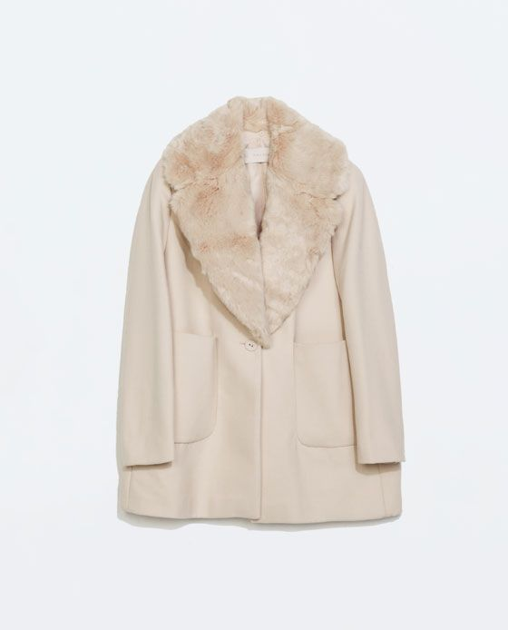 ZARA - NEW THIS WEEK - COAT WITH FUR LAPEL AND PATCH POCKETS