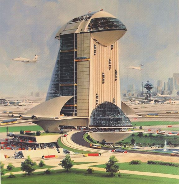 A rare future airport from 1975, one of a series by John Berkey as adverts for the Otis Elevator Company.