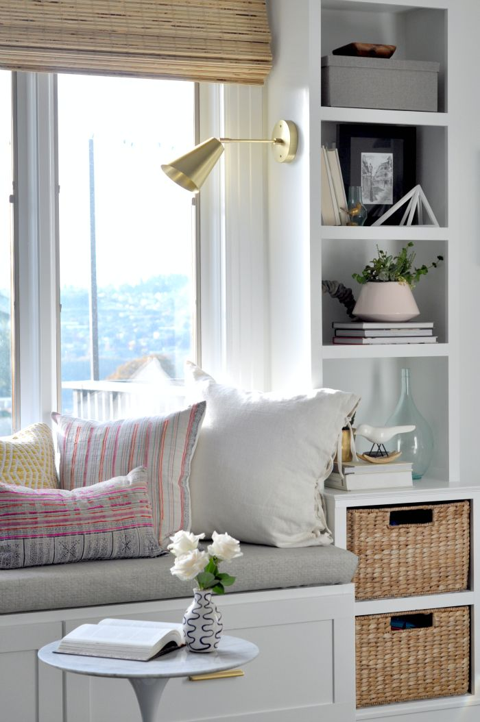 white window seat with builtins