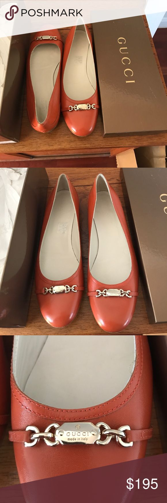 Gucci orange ballet flats with chain detail! Gorgeous. Classic. Excellent condition, small scuff mark as pictured. Only worn a few times. Gucci Shoes Flats & Loafers