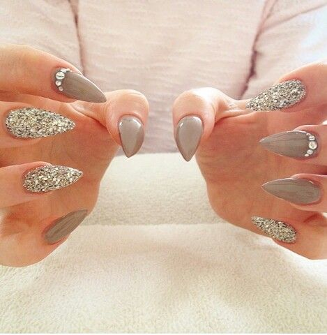 Taupe stiletto with silver glitter & gems.