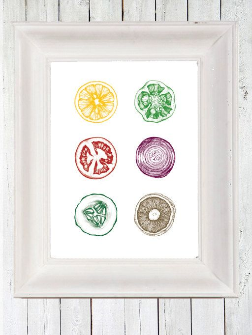 Fruit and Vegetable Print. in kitchen? or use the veggies to make stamp artwork?