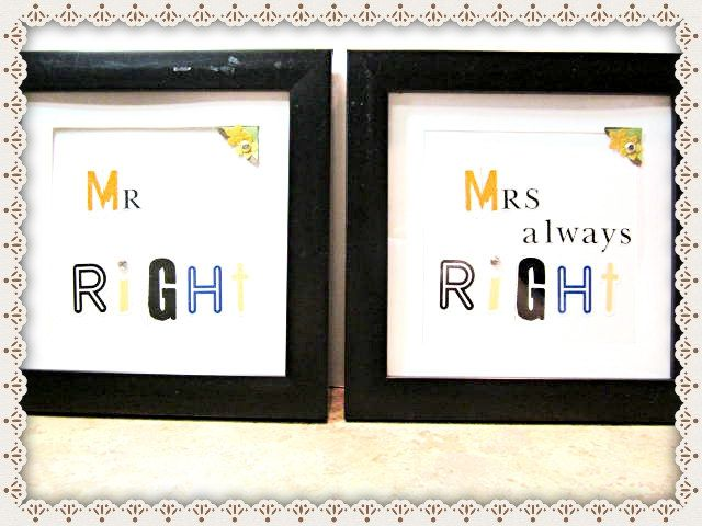 Mr. Right Mrs Always Right~Framed Word Wall Tile~Mr Right Mrs Always Right Wedding or Anniversary Gift~ - pinned by pin4etsy.com