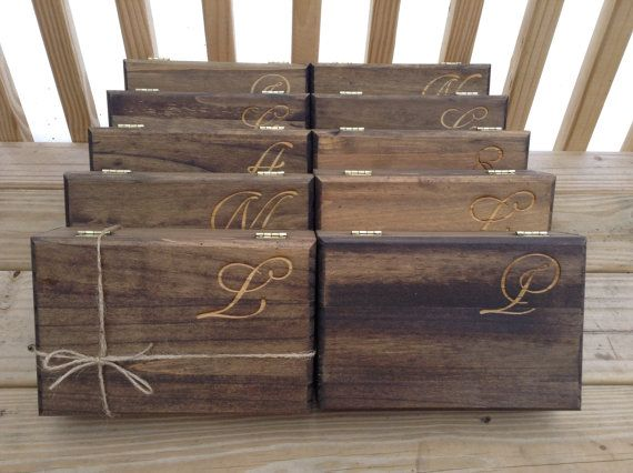 Bridesmaid Gift - Set of 8 Large Personalized Boxes - Engraved Wooden Keepsake Box with Heart - Maid Of Honor