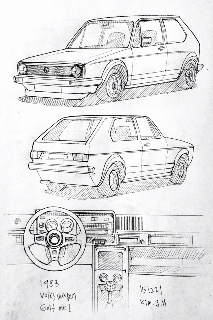 Car drawing 151221  1983 Volkswagen Golf MK1 Prisma on paper.  Kim.J.H