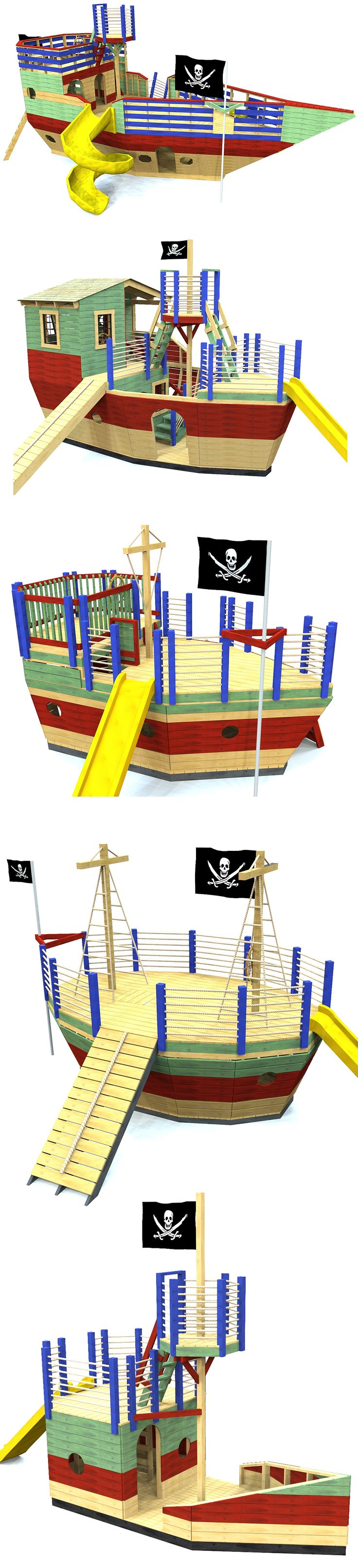 5 backyard pirate ship playhouse plans you can build.  Download and start building today!