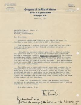 John F. Kennedy Typed Letter Signed with important legislative content. Congressman Kennedy responds to a constituent, the Reverend Robert K. Jones Jr. of Maynard, Massachusetts, clarifying a question of his amendment to a bill regarding federal aid to parochial schools.
