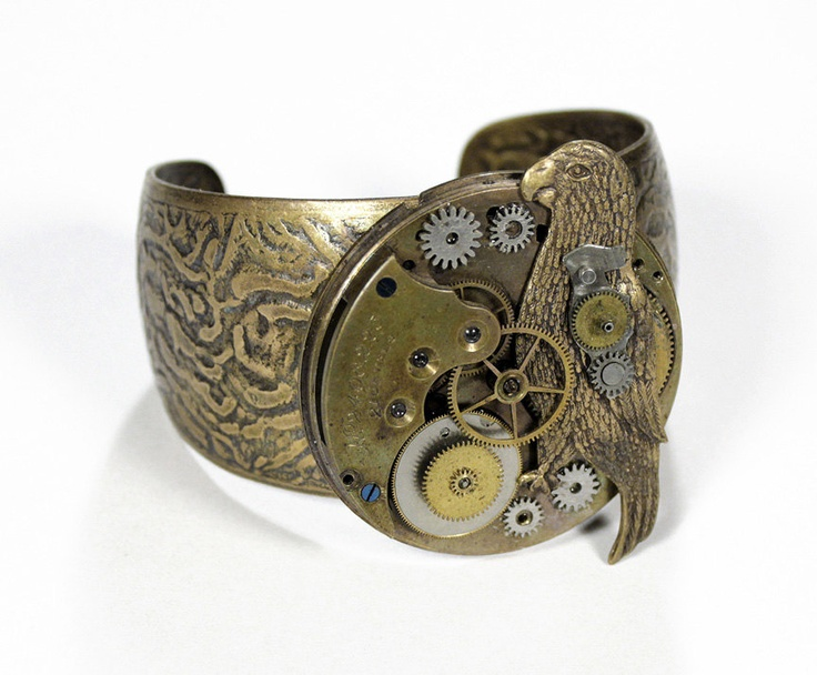 Steampunk Cuff - Vintage Brass Pocket Watch Adjustable Bracelet MECHANICAL PARROT Gears Cogs AWESOME PiECE - Steampunk Jewelry by edmdesigns. $195.00, via Etsy.