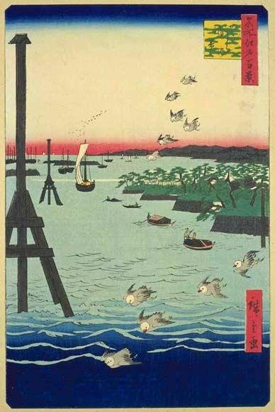 <名所江戸百景 芝うらの風景 : SHIBAURA NO FUUKEI> VIEW OF THE BAY AT SHIBA HIROSHIGE UTAGAWA 1797-1858 Last of Edo Period